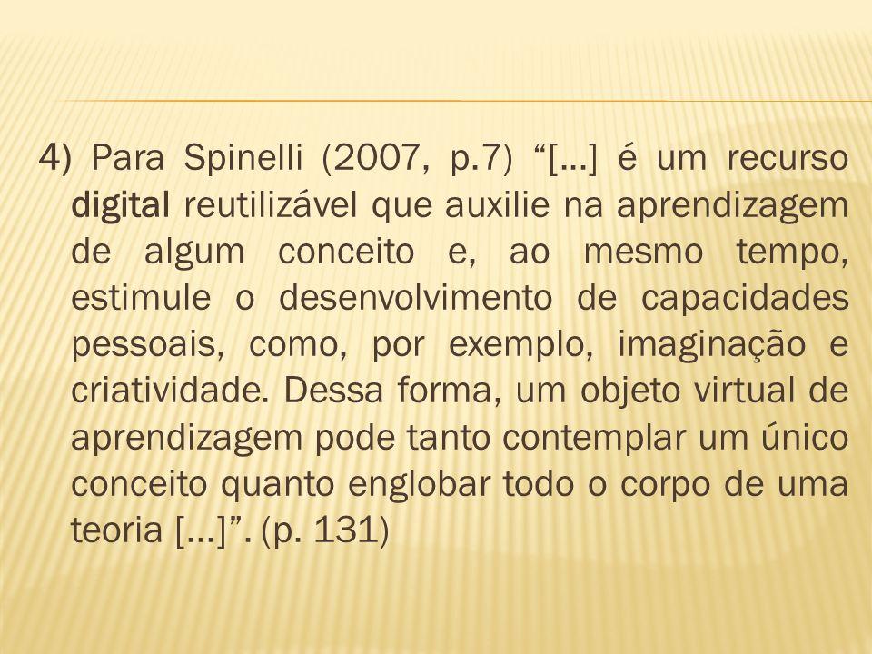 4) Para Spinelli (2007, p.7) [...] é um recurso digital reutilizável que auxilie na aprendizagem de algum conceito e, ao mesmo tempo, estimule o desenvolvimento de capacidades pessoais, como, por exemplo, imaginação e criatividade.